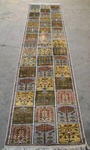 Box Design Silk 2x10 Rug Oriental Carpet Hand Knotted Afghan Hamdan Corridor
