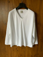 POETRY JERSEY TOP Thick T-Shirt White V Neck UK 10 12 14 16 18 20 - NEW