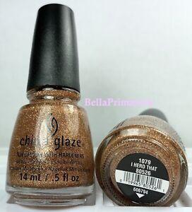 China Glaze Nail Polish I Herd That 1079 Copper Gold Glitter Lacquer