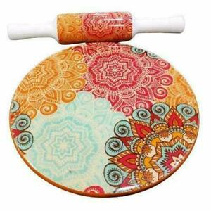 Handmade Marble Chakla Wood Belan Rolling Pin Board Set 10 inches for Roti