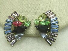 Vintage Art Deco Rhinestone Curved Earrings, Baguettes, Blue, Pink, Green Yellow