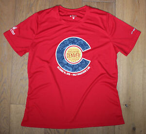 BROOKS Women's XL Red Blue Running Jogging Exercise Shirt DENVER MARATHON New