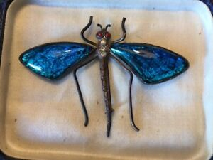 Antique butterfly wing dragonfly brooch.