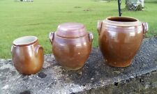 Three  French vintage saltglaze jars