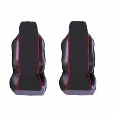 FIAT 500 ABARTH 1+1 FRONT SEAT COVERS BLACK RED PIPING