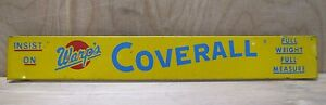 Old WARP'S COVERALL Advertising Sign tin metal door push store display