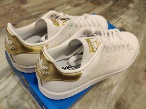 Adidas Originals Women's Stan Smith Sneaker Size 10, EE8836 White/White/Gold