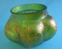 Superbe vase Art Nouveau en verre soufflé - Legras Montjoye - vert émaillé -