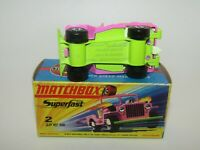 Matchbox Superfast No 2 Jeep Hot Rod Pink YELLOW-GREEN BASE VNMIB RARE
