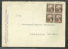 1938 German Cover Gewerkschaft Elwerath Betrieb Molme With Block Of 4 Stamps