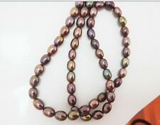 """18""""7x9MM natural tahitian genuine black peacock CHOCOLATE pearl necklace AAA"""