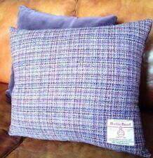 "2 Harris Tweed Cushion Covers Pink Purple Slate Grey 18"" Velvet Rectangle"