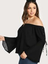 b27f866df68 Stylish Plus Size Black Off the Shoulder Top with Lace up Sleeves.