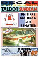 01 4 PLATES DECAL CITROEN C35 ASISTENCIA TALBOT SPORT MONTECARLO 1981