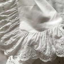 ANTIQUE FRENCH PILLOWCASE - RUFFLES & EYELETS - DECORATIVE PILLOW COVER