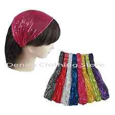 6pc Women Sequin Headwrap Headband Bandana Hair band Turban Boho W/ Elastic Yoga