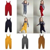 Boys Girls Kids Child Dungarees Jumpsuits Overalls Suspenders Pants Trousers