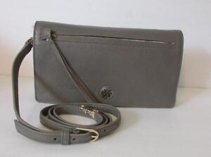 Tory Burch Brody Clutch Porcini gray taupe brown Purse Bag leather logo handbag