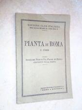 PIANTA DI ROMA 1:12000 Touring Club Italiano 1950 indice vie viaggi libro di