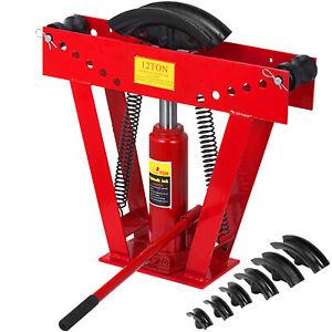 "VEVOR Pipe Bender 12 Ton Hydraulic Tube Rod Bending Machine 1/2""-2"" 6 Dies Set"