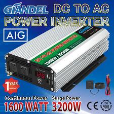 Large Shell Power Inverters 1600W/3200W 12V/240V 4.5M Remote USA Transistors