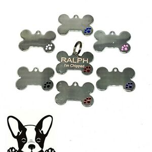 Engraved ID Tags Pet Tags DOG Disc Bone with Paw Print 6 Colours Free P&P