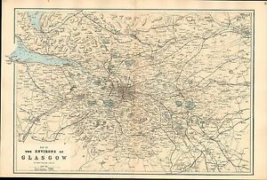 1881 HAND COLOURED MAP ~ GLASGOW ENVIRONS ~ RAILWAY COMPANY LINES & STATIONS etc