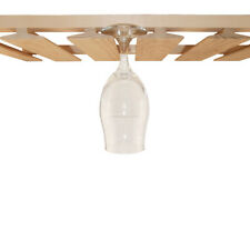 6 Channel Maple Hardwood Stemware Rack - Holds 18 Glasses - Home Bar Pub Decor