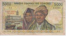 Comores Banknote P12a-4286 5,000 5.000 5000 Francs,  F-VF