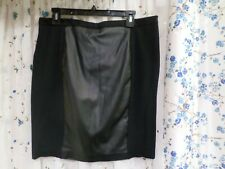 MNG Women's Suit skirt size XL Black with faux leather panels pencil stretch