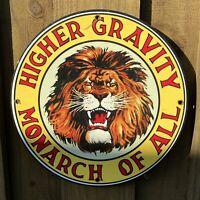 VINTAGE GILMORE MONARCH GASOLINE PORCELAIN SIGN LION HIGHER GRAVITY USA GAS PUMP
