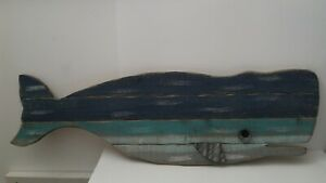 """38"""" Painted Wood Plank Blue Whale Wall Art Plaque"""
