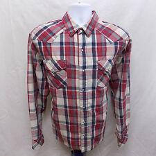 Vintage LEVI'S Shirt Mens L 18.5 34/35 PEARL Snap WHITE TAB Western Levi 18 1/2