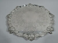 Victorian Salver - Antique Georgian Tray - English Sterling Silver - Hutton 1898