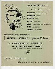 Gaston flyer dédicace Librairie Dupuis 1970 TTBE