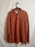 The North Face Men's light Red vented long sleeve hiking fishing shirt XL EUC