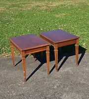 Pair Mid-Century Traditional HERITAGE End Tables nightstand side lamp