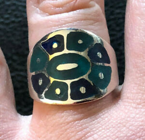 Sterling Silver Ring Turquoise Lapis Band Wide Gem Inlay Sz 8.5 6g 925 #1335