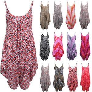 Womens Cami Romper Lagenlook Printed Harem Jumpsuit Playsuit Ladies Plus Size