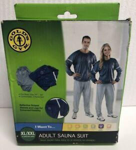 """Gold's Gym Adult Sauna Suit XL/XXL, Weight Loss, Waist 36""""-44"""", Reflective"""