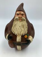 Santa Claus Piggy Bank Cast Iron Painted Figure Vintage Christmas Holiday Decor