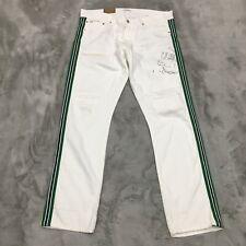 New Polo Ralph Lauren Varick Slim Straight Distressed Graphic Jeans 36 x 32