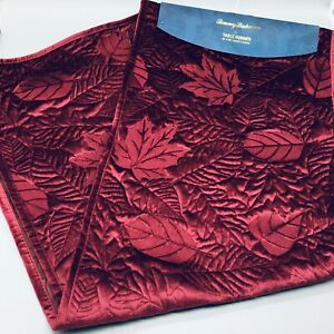 """Tommy Bahama Leaf Velvet Table Runner Quilted Mulberry Boysenberry Red Fall 72"""""""