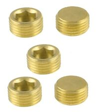 """2x BSP Solid brass hex plugs size 1/8"""" thread for pneumatic components"""
