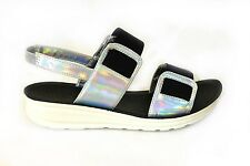 Ladies Womens Peep Toe Pool Sliders Flip Flops Flat Shoes Sandals All Sizes 3-8