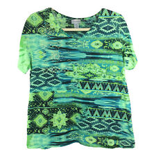 Catherines Green Casual Top Gold Bling Short Sleeves V-Neck Plus Size 1X 18/20W