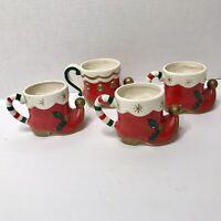 Vintage Napco Christmas Elf Boots Mugs 1950's Set Of 4