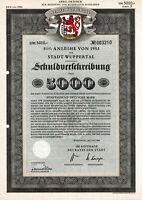 Wuppertal hist. dekorativ Stadt DM Anleihe 1953 Nordrhein-Westfalen NRW Wappen