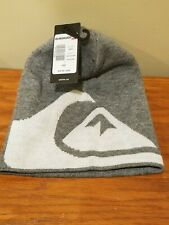 Quiksilver M&W Beanie - Men's Knit Stocking Cap Winter Hat - Gray w/ White Logo
