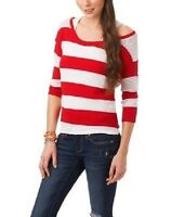 NWT - Women's Aeropostale Red & White Striped Slouch Crochet Cropped Sweater, L